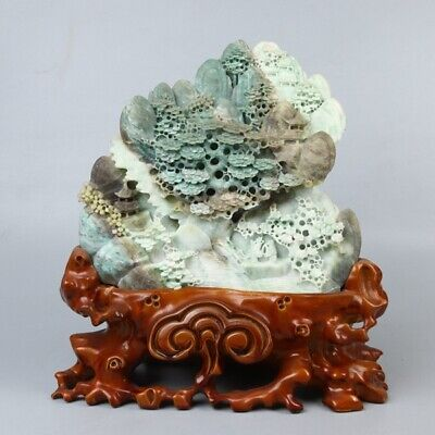 Chinese Exquisite Hand-carved Natural landscape carving Dushan jade statue