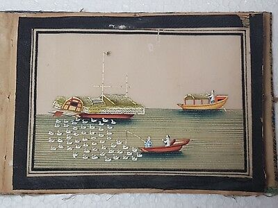 A Rare Album Of 12 19th C Paintings Of Boats On Pith Paper. Studio of TingQua.