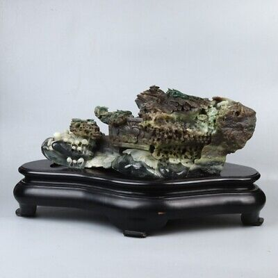 Exquisite Chinese natural dushan jade Hand carving coin and Lucky pattern statue