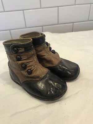 Antique VICTORIAN Pair 2-Tone LEATHER Baby Child Doll High-4 Button BOOT SHOE