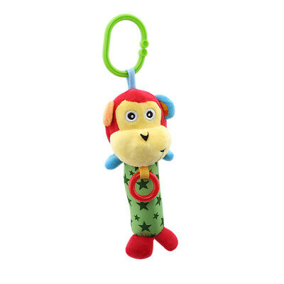 Newborn Bed Stroller Rattle Monkey Plush Baby Toy for Kids Ring Bell Crib Doll Z