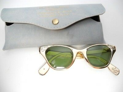 Vintage Tura Cat Eye Glasses Frames Gold Tone Aluminum with Jewels