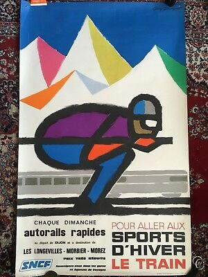 Affiche ancienne originale  Sports d'hiver French Vintage travel poster
