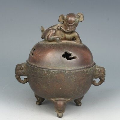 Chinese Exquisite Hand-carved Elephant carving bronze incense burner