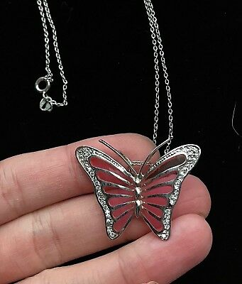 "Sterling Silver 925 Pink Butterfly Rhinestone Necklace 16 1/2"" Repair M001"
