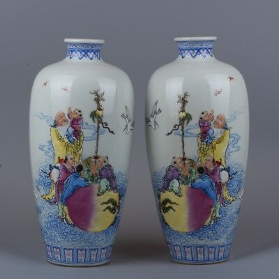 Chinese Porcelain Collection Exquisite Old and children pattern Vase A pair