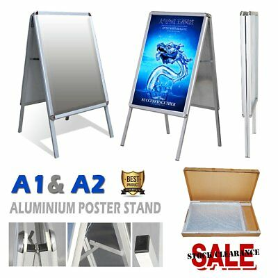 A1&A2 Double Side Alu Pavement Sign Snap Frame Poster Display Stand Advertising
