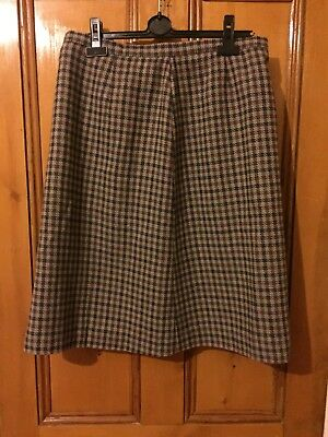 VINTAGE 80s 90s Heathers PLAID CHECK WOOL Brown Beige Long Skirt 12 14 16