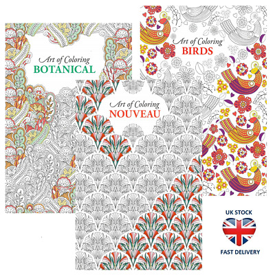 ADULT COLOURING BOOKS SET OF 3 Art Therapy Coloring Botanical Birds Nouveau GIFT