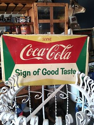 RARE 1950's SERVE COCA COLA LARGE DISPLAY METAL RACK SIGN