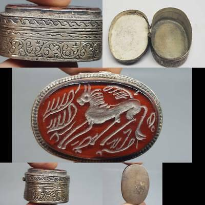 Silver Wonderful Old Amulet Box With Carnelian Horse Intaglio   # 3T