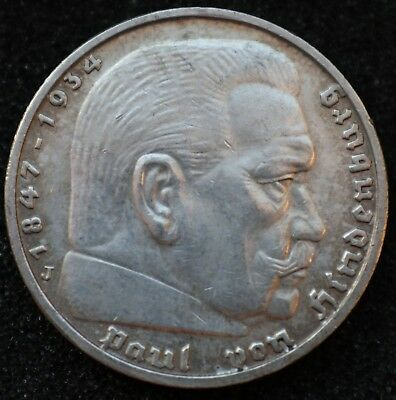 5 REICHSMARK 1939 J - Genuine KM#94 German Reich 900 Silver coin - #7745