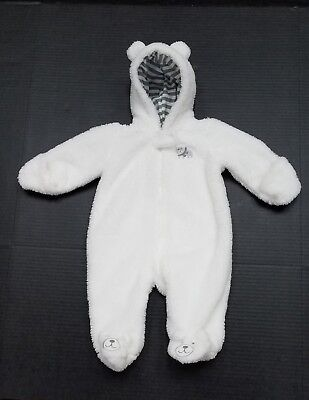 Carter's Baby Boys Plush Soft White Lined Snowsuit Size 3 Months Winter