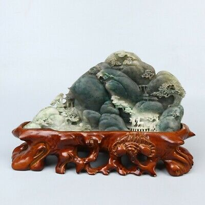 Chinese Exquisite Hand-carved Natural human landscape carving Dushan jade Statue