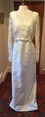 VINTAGE 1980's/90's LACE & SILK IVORY WEDDING DRESS BY DRESS GALLERY