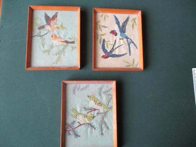 "3 FRAMED "" OLD  TAPESTRY/EMBROIDERED "" COLOURFUL  BIRD  PICTURES "" 1900/40s ??"
