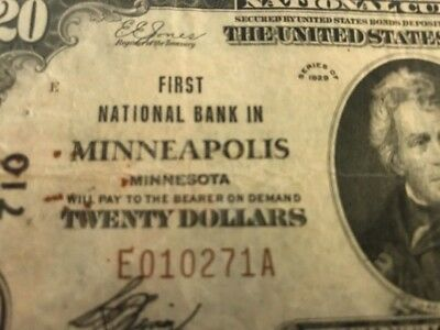 1929 $20 NATIONAL BANK MINNEAPOLIS, MINNESOTA Ch.710 TYPE 1 Serial 10271