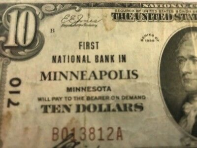 1929 $10 FIRST NATIONAL BANK MINNEAPOLIS, MINNESOTA Ch.710 TYPE 1 Serial 13812