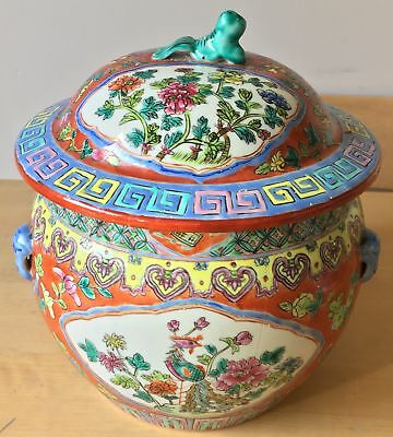 "LARGE SIGNED antique TONGZHI nyonya perenakan STRAITS CHINESE 8.75"" KOI CARP POT"