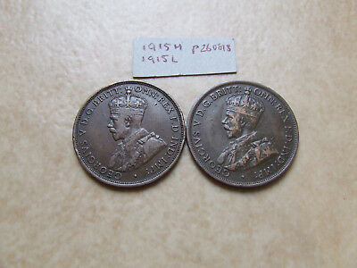 1915L and 1915H PENNIES BOTH 6 PEARLS