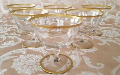 6 Vintage Gold Rimmed Champagne Glasses, 4 inches tall and 3 3/4 inches wide