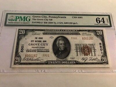 RARE HIGH GRADE 1929 $20 Grove City Pennsylvania PA #5501 TYPE 2 PMG 64
