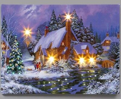 Fibre Optic Canvas Hanging Wall Art Print Christmas Winter House Picture Purple