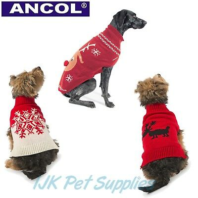 Ancol Christmas Dog Puppy Xmas Novelty Jumper Sweater Outfit XXS XS S M L XL