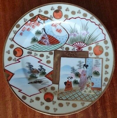 14 Pieces of Colourful Japanese Hand Painted Eggshell Porcelain -  Geisha & Fans