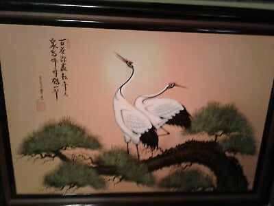 ORIGINAL ANTIQUE/VINTAGE CHINESE Or japanese OIL PAINTING ON CANVAS