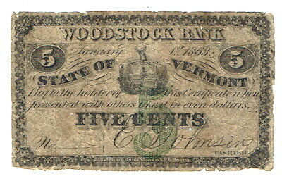 Five cent Factional - Woodstock Bank, Vermont - 1863