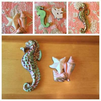 Vtg Mermaid Ceramic Seahorse & Chalkware Starfish W/ Shells Wall Plaques  Qty 2