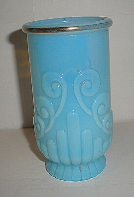 Vintage Avon Baby Blue Translucent Glass Vase Molded Swirls Bars Gold Rim Trim