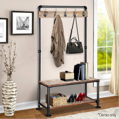 Hallway Coat Rack Rustic Shoe Storage Stand Pipe Shelves Entrance Entryway