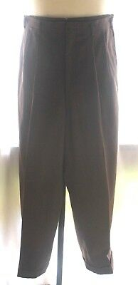"""Vintage Men's 50's PANTS Trousers WOOL High Rise Pleated Cuff 32""""W X 31"""" Inseam"""