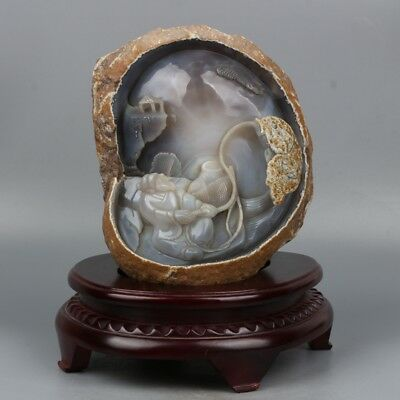 Chinese Exquisite Hand-carved Fisherman fishing Agate statue