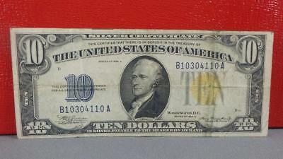1934 A Gold Seal $10 Silver Certificate. CIRCULATED CONDITION. NICE.