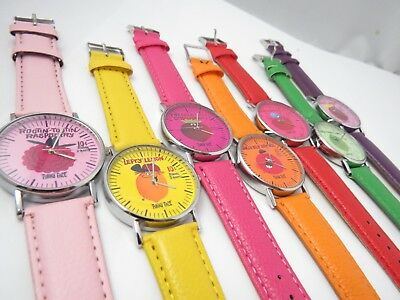 """FUNNY FACE,70's Drink """"Goofy Grape,Lefty Lemon"""",Leather Band CHARACTER WATCH SET"""