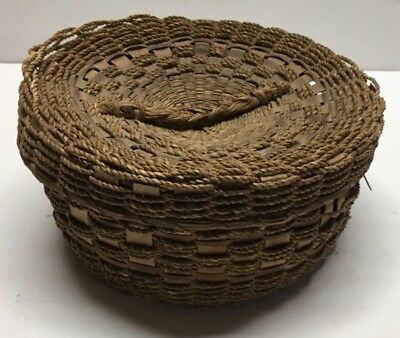 Antique Sweet Grass Keepsake Covered Basket