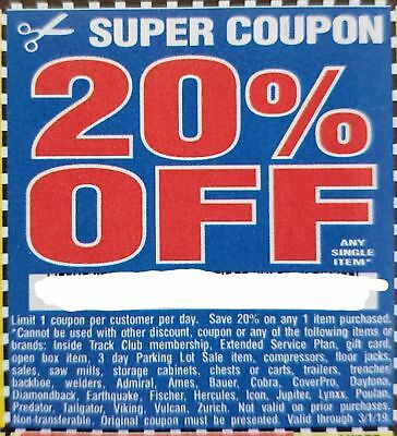 1 One Coupon Harbor Freight Tools 20 Off Single Item Savings Valid