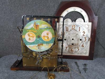 ANTIQUE GERMAN 5 TUBE GRANDFATHER CLOCK MOVEMENT & FACE, attr. to HERSCHEDE
