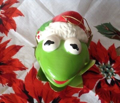 Vintage 1981 Muppets Christmas Holiday Ornament Kermit The Frog