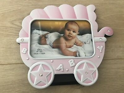 Pink Girl Carriage Baby Photo Frame- Newborn Nursery Gift Decor Keepsake, New