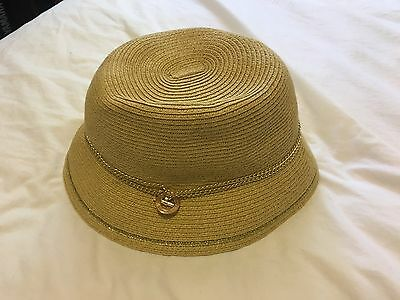 84939770e50 Calvin Klein Straw Fedora Beach Hat with Gold metal chain Logo Band size M
