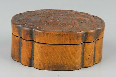Chinese Exquisite Hand carved people landscape pattern Boxwood box