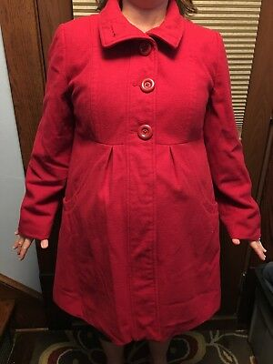 Liz Lange Maternity Large Red Coat Target Preowned Free Priority Shipping