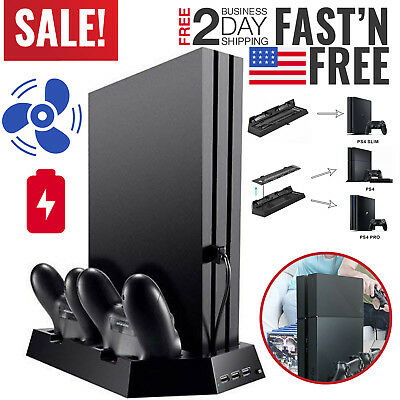 PS4 Pro Slim Stand Vertical Cooling Controller Charger Charging Station Dock