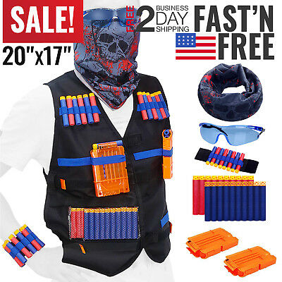 Nerf Vest Kids Tactical Foam Darts Mask Glasses Kit Set For Nerf N-Strike Gun