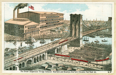 Royal Baking Powder Brooklyn Bridge NY Railroad Antique Victorian Trade Card