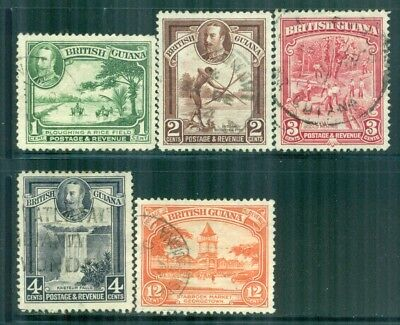 BRITISH GUIANA 210-13,215 SG288-91,293 Used 1934 KGV short set of 5 Cat$9